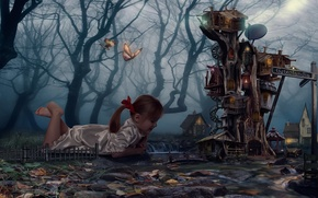 Picture forest, dream, tree, butterfly, sleep, House, girl