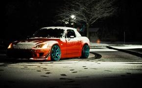 Picture winter, night, honda, red, Honda, tuning, s2000