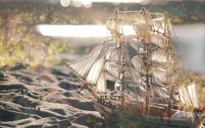 Picture sand, ship, bokeh