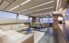 Picture salon, luxury motor yacht, Pershing-108