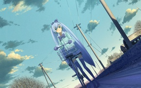Picture girl, trees, bike, the city, home, anime, art, vocaloid, yuki miku, domo1220