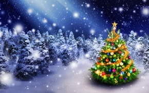 Picture Nature, Winter, Snow, Forest, Balls, New year, Tree, Holiday, Christmas, New Year, Garland