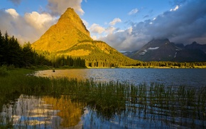 Wallpaper mountains, the reeds, grass, trees, Montana, lake, clouds, the sun, rocks, Glacier National Park, forest, ...