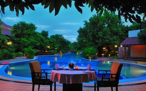 Picture mood, stay, Villa, the evening, pool, dinner