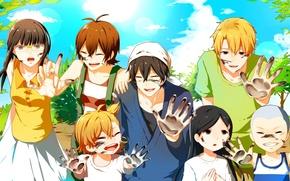 Picture the sky, children, foliage, laughter, glasses, ink, shawl, fun, palm, sensei, Barakamon, Kotoishi Naru, Hanada …