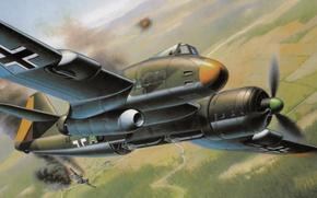 Picture war, art, painting, aviation, ww2, Blohm & Voss P. 194