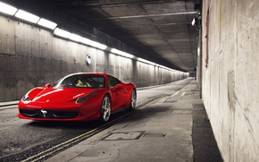 Picture red, before, Ferrari, red, sports car, Ferrari, 458, tunnel, Italia