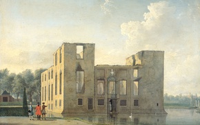 Picture landscape, picture, Castle in Heemstede After the Fire. Rear View, Jan ten Kompe