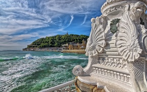 Picture the ocean, coat of arms, Spain, column, Spain, The Bay of Biscay, San Sebastian, Bay …