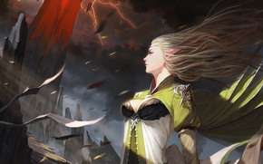 Picture the storm, girl, storm, stones, rocks, the wind, lightning, hair, elf, figure, tower, fantasy, art, …