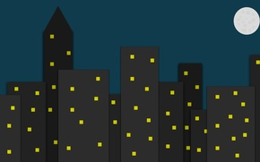 Picture the city, minimalism, Night city, city in darkness