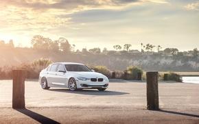 Picture Sunset, BMW, White, BMW, 328i, F30, Sedan