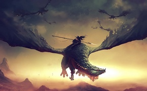 Picture fiction, dragon, battle