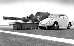Picture weapons, Volkswagen, car, A-10, Volkswagen Beetle, Thunderbolt II, GAU-8, 30 mm, General Electric GAU-8/A Avenger, …