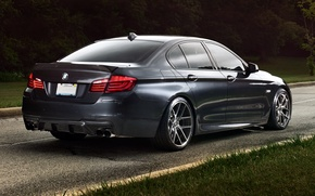 Picture road, grass, trees, background, black, tuning, BMW, BMW, Sedan, rear view, tuning, Sedan, 5 Series, …