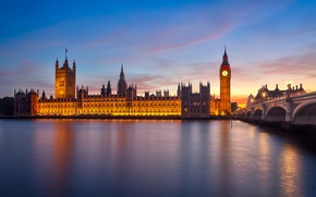 Picture bridge, the city, river, England, London, morning, UK, Thames, Big Ben, The Palace of Westminster, …