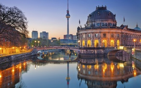Wallpaper bridge, Germany, lights, The Bode Museum, the evening, tower, river, Berlin