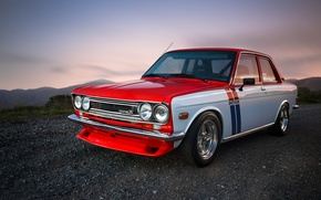 Picture red, Datsun, 510, chromium, withe