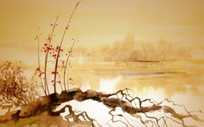 Picture river, snag, Chinese painting