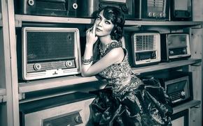 Picture portrait, vintage, retro style, b & W photo