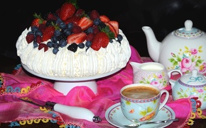 Wallpaper cake, meringue, blueberries, dessert, coffee, berries, raspberry, Pavlova, dishes, strawberry