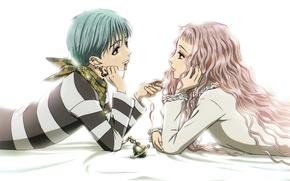 Picture piercing, lighter, white background, two, pink hair, curly hair, Nan, nana, shinichi okazaki, reira serizawa, …