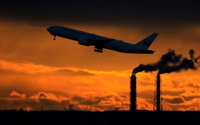 Wallpaper passenger, tower, Boeing, the rise, 777-200, smoke, silhouette, the sky, the plane, sunset