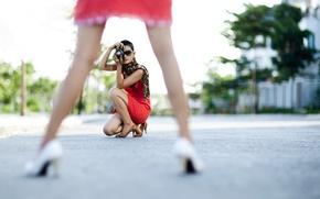 Wallpaper girls, street, feet