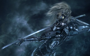 Picture girl, sword, katana, cyborg, Metal Gear Solid