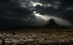 Picture clouds, castle, the darkness, desert