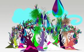 Wallpaper vector, trees, windows 7, forest, seven