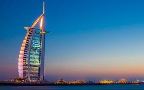 Picture city, lights, Dubai, sky, sea, landscape, sunset, skyscraper, evening, hotel, Burj Al Arab, boats, yachts, …