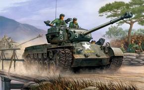 Picture war, art, painting, tank, M26 Pershing, heavytank
