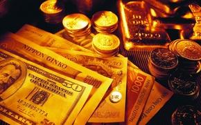 Wallpaper dollars, bars, gold, coins, money