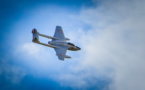 Picture the plane, jet, Vampire, fighter, De Havilland, flight, clouds, the sky, British