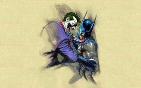 Picture battle, Joker, knife, Batman, wound, Batman, fight, Joker, knife, wound