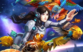 Picture girl, space, fish, birds, planet
