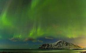 Wallpaper sea, stars, mountains, night, Northern lights, Iceland