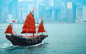 Picture ship, building, China, sails, skyscrapers