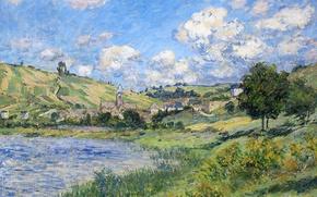 Picture river, picture, Claude Monet, Vétheuil. Landscape