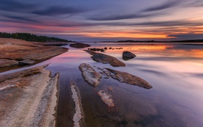 Picture stones, reflection, trees, shore, the evening, water, Norway, the sky, rocks, river, clouds, sunset