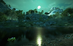 Picture trees, landscape, mountains, the moon, picture, Far Cry 4