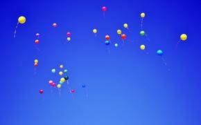 Wallpaper the sky, balloons, balls, blue, fly
