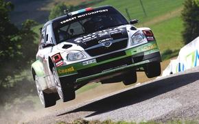Picture Auto, Sport, Race, Shadow, Lights, Rally, Rally, The front, Skoda, Fabia, Fabia, Skoda