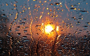 Picture the sun, glass, sunset, rain, drops
