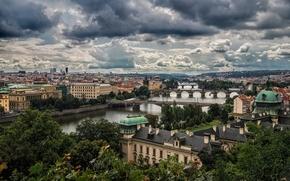 Picture river, home, Prague, Czech Republic, panorama, bridges, Vltava