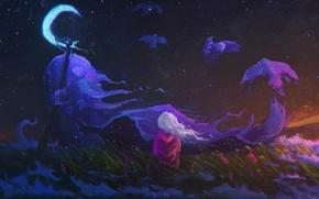 Picture field, the sky, grass, flowers, night, bird, the moon, sleep, spirit, art, girl, Crescent