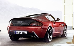 Picture mountains, red, coupe, BMW, BMW, rear view, Coupe, Zagato, Zagato