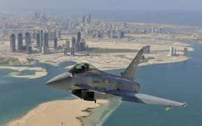 Picture flight, the city, fighter, Dubai, multipurpose, Eurofighter Typhoon
