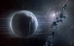 Picture stars, planet, asteroids, spaceship